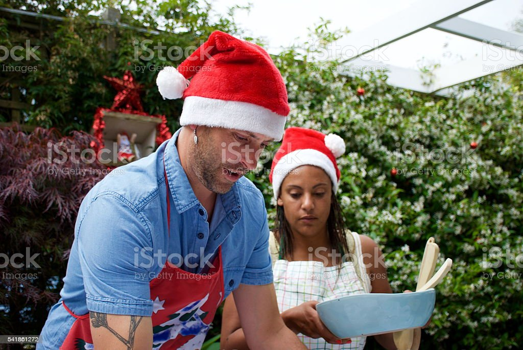 Serving of a Summer Christmas Dinner stock photo