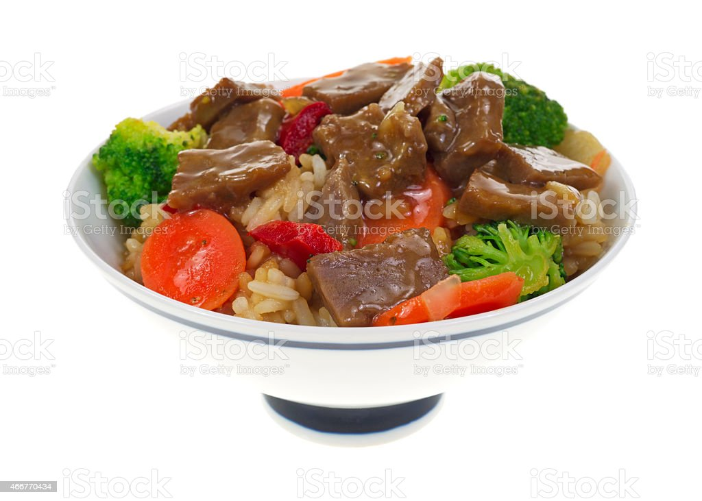 Serving of beef teriyaki with vegetables stock photo