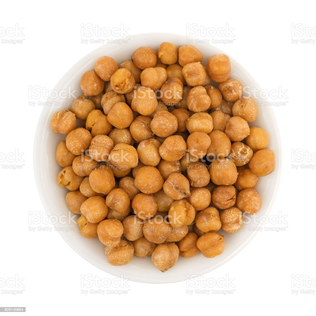 Serving of chickpeas with sea salt in a white bowl stock photo