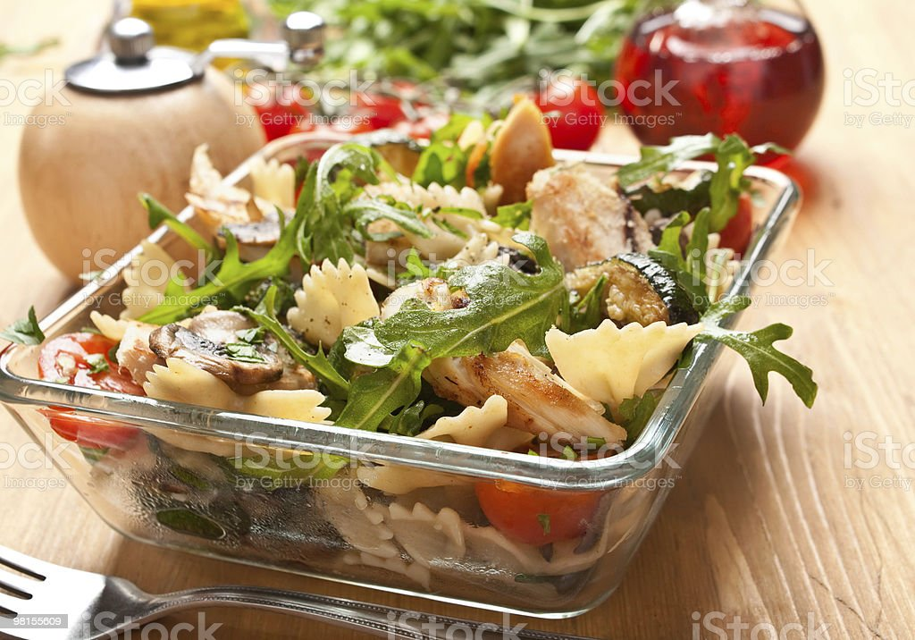 Serving of pasta salad stock photo