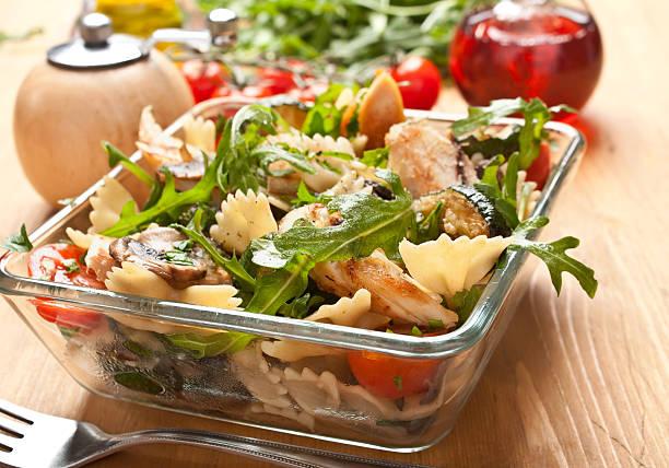Serving of pasta salad stock photo