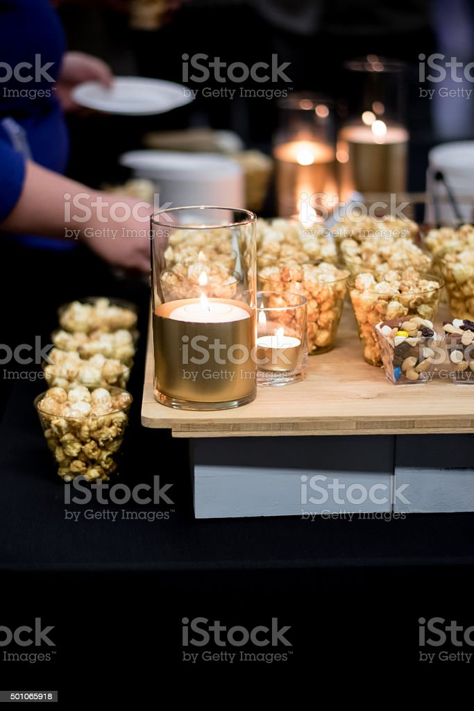 Serving of popcorn stock photo