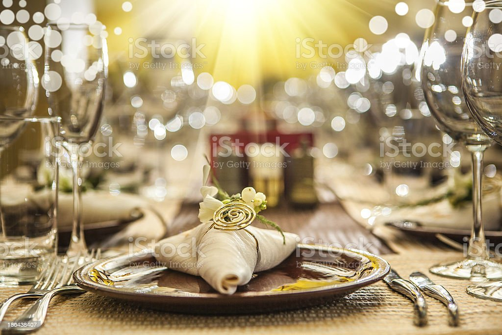serving of restaurant table close up stock photo