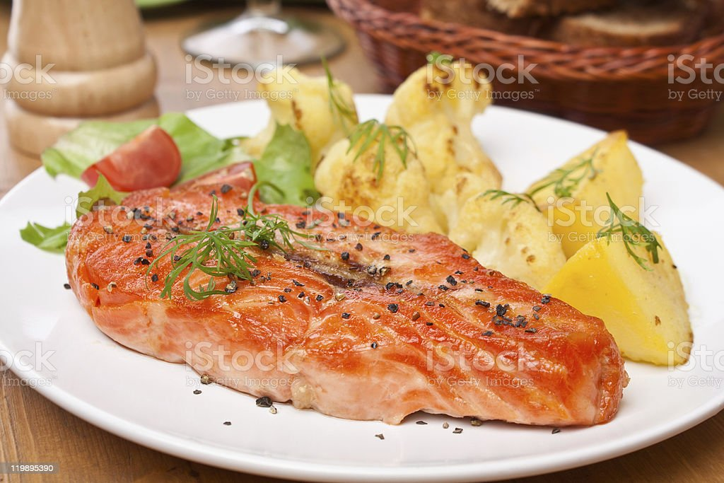 serving of tasty  salmon royalty-free stock photo