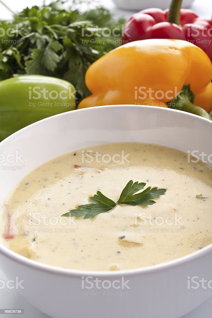 serving of vegetable cream soup stock photo
