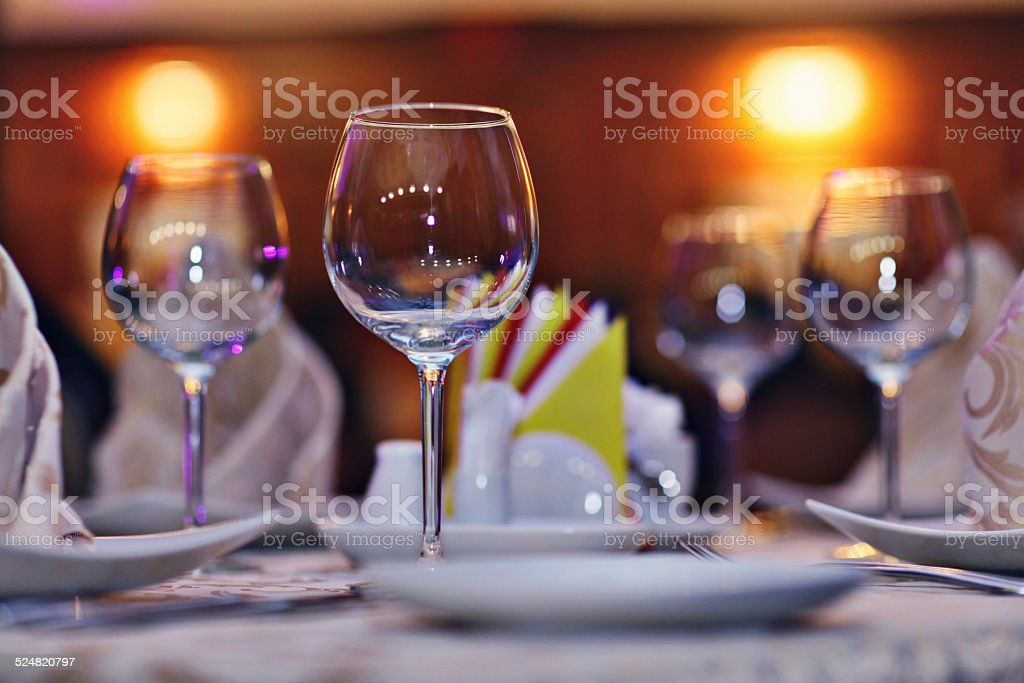 serving plates cups napkins on the table restaurant stock photo