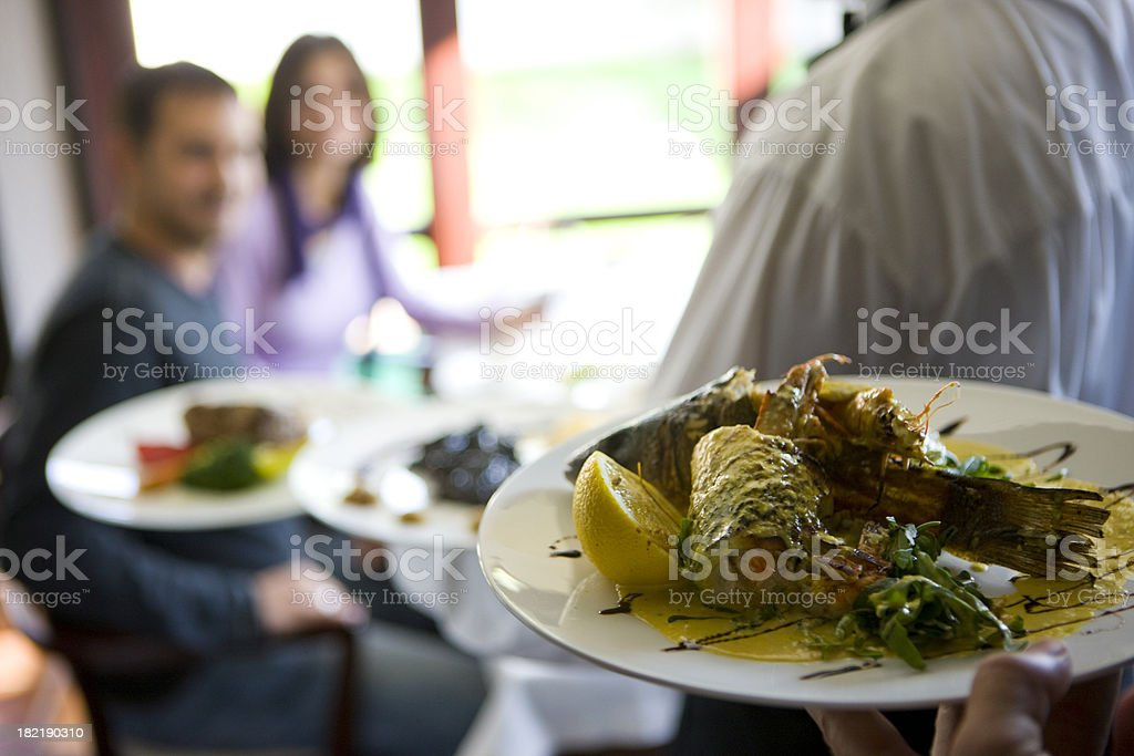 Serving seafood royalty-free stock photo