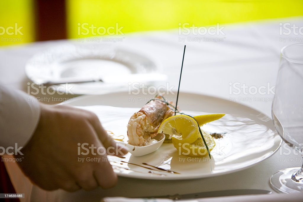 Serving shrimp royalty-free stock photo