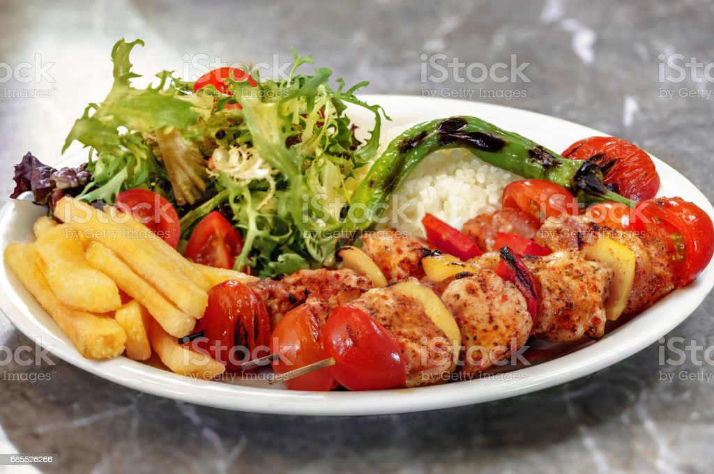 Serving Size Chicken Skewers stock photo