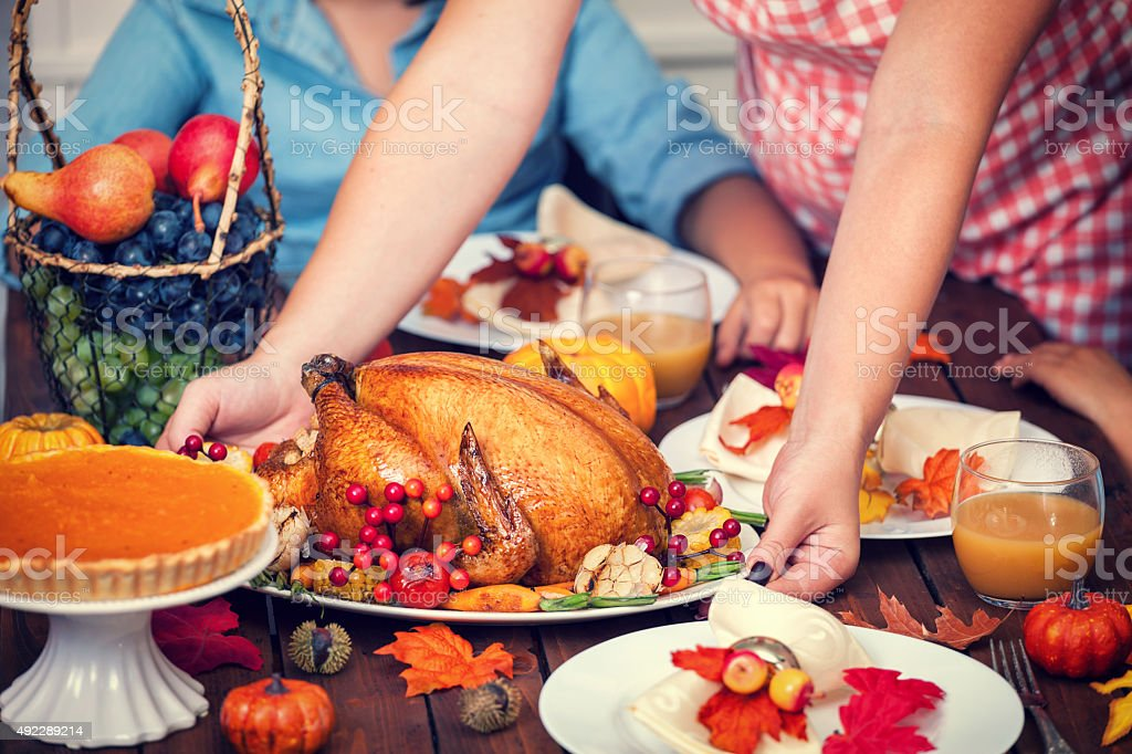 Serving Thanksgiving Turkey stock photo