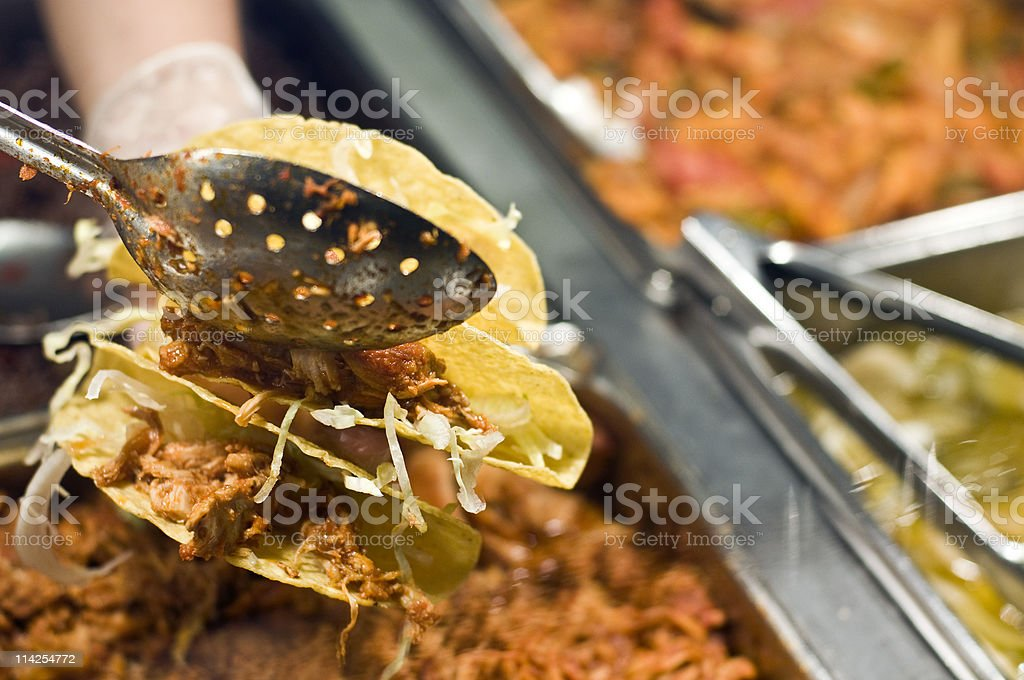Serving Three Shredded Beef Tacos royalty-free stock photo