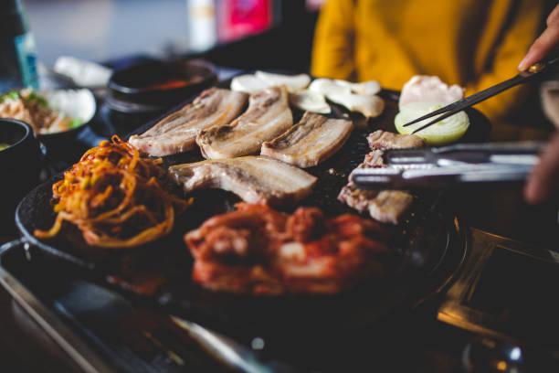 Serving traditional black pork stock photo