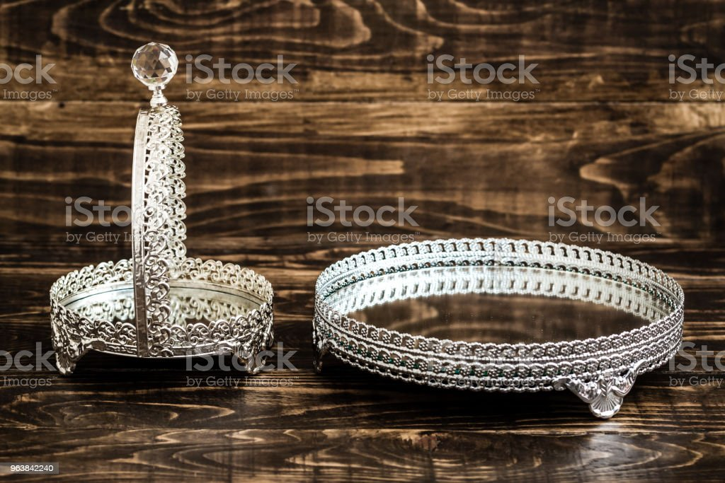 Serving Trays with Mirror on Brown Wooden Background stock photo