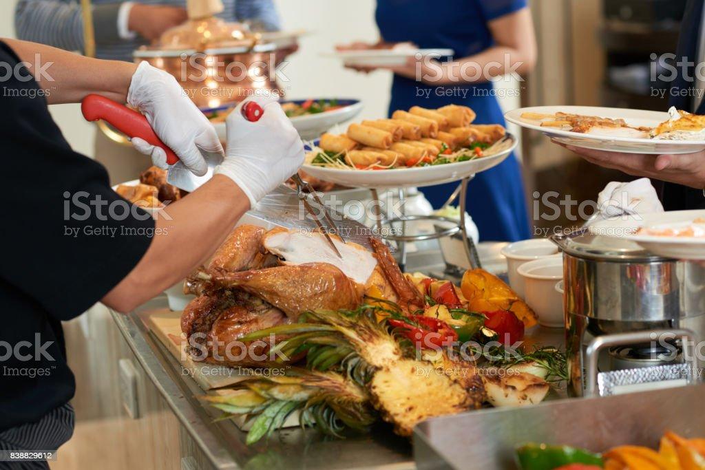 Serving turkey stock photo