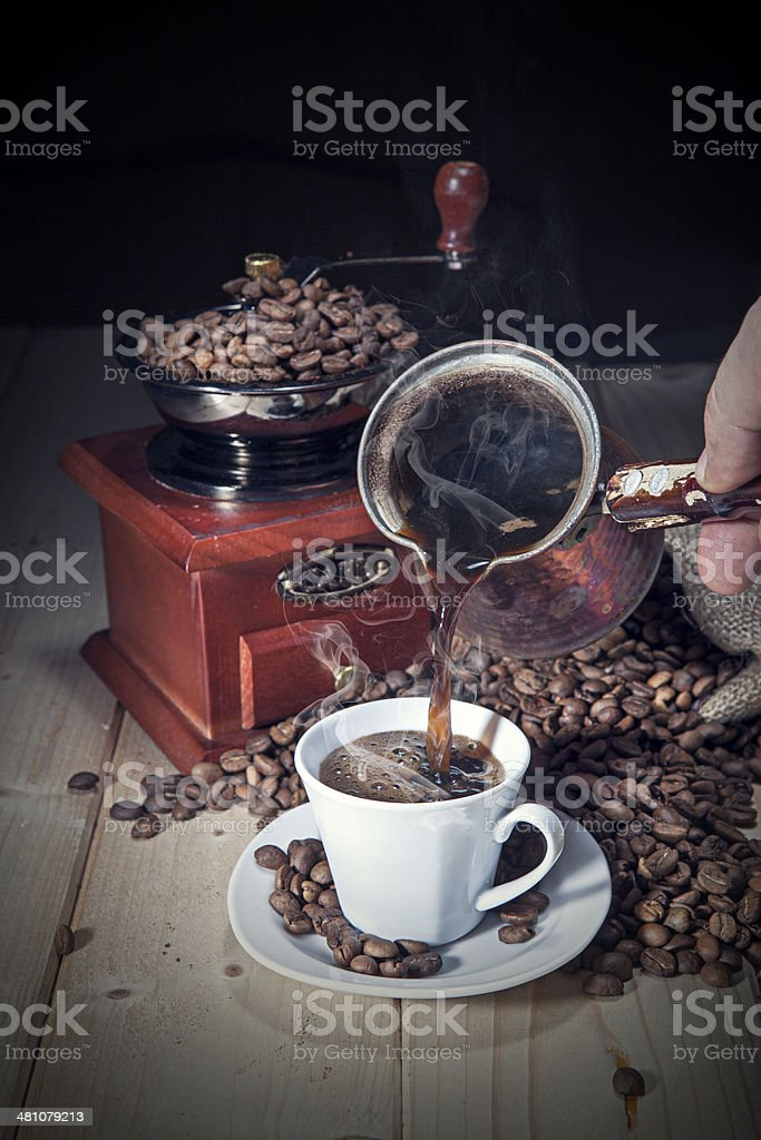 Serving turkish coffee stock photo
