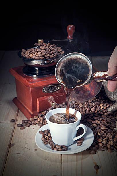 Serving turkish coffee stock photo