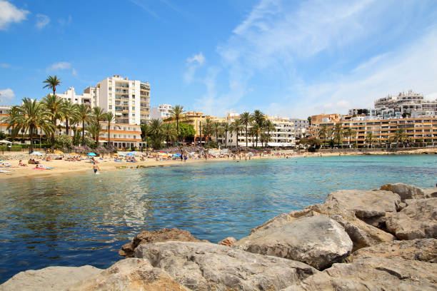 Ses Figueretes beach in Ibiza town in sunny summer day. stock photo