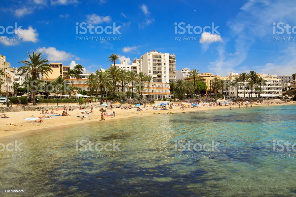 Ses Figueretes beach in Ibiza town in sunny summer morning royalty-free stock photo