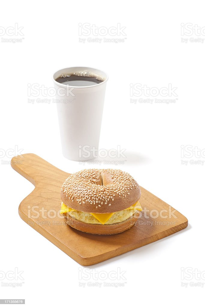 Sesame Bagel Sandwich with Egg and Cheese bildbanksfoto