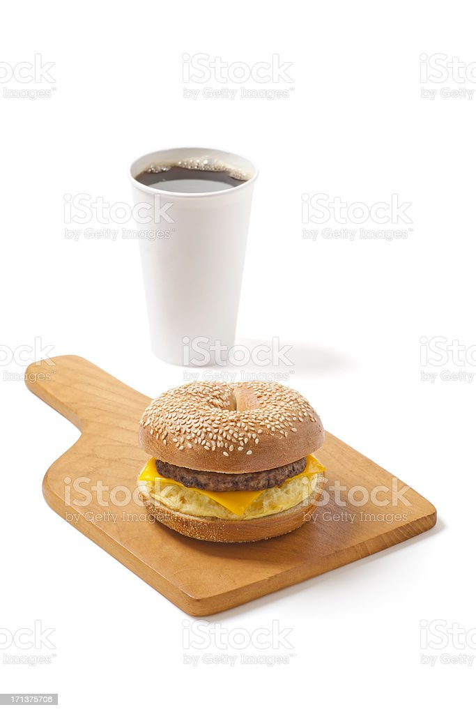 Sesame Bagel Sandwich with Egg, Cheese, and Sausage stock photo