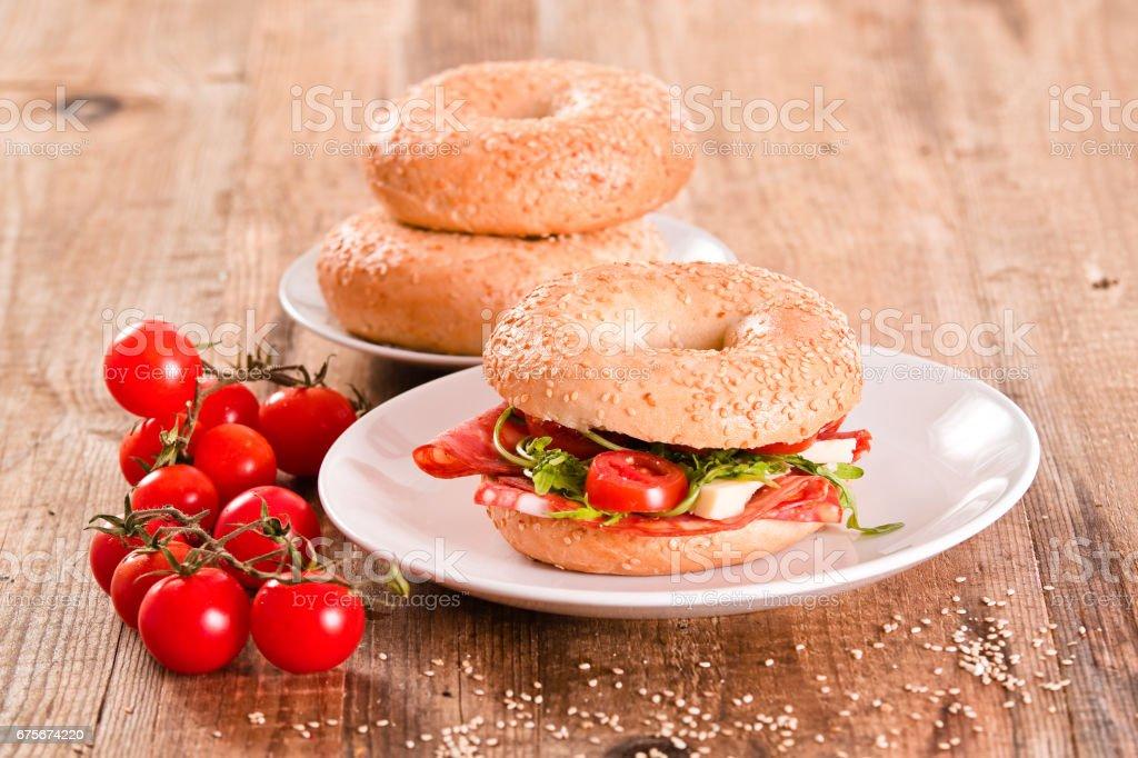 Sesame bagels. foto de stock royalty-free