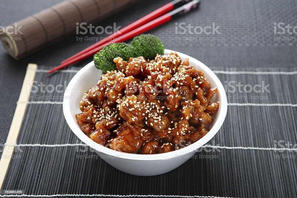 Sesame Chicken Teriyaki Bowl stock photo