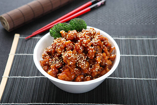 sesame chicken teriyaki bowl - sesame stock photos and pictures
