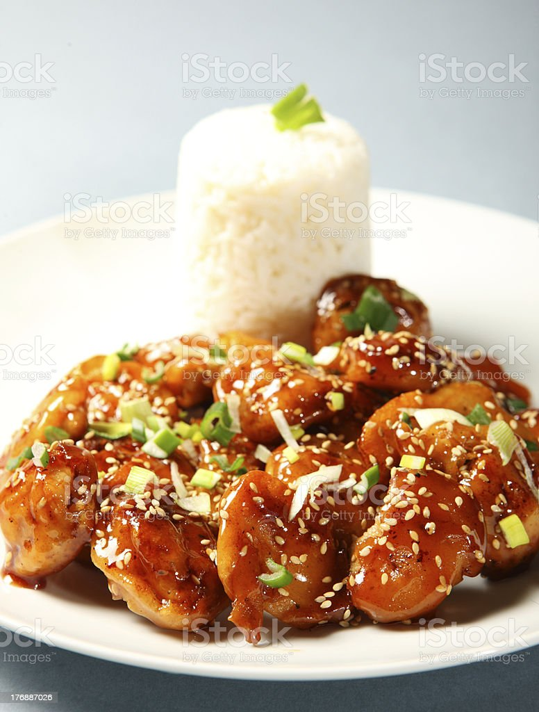 Sesame chicken with rice stock photo