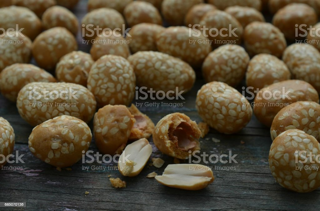 sesame covered candied peanuts royalty-free stock photo