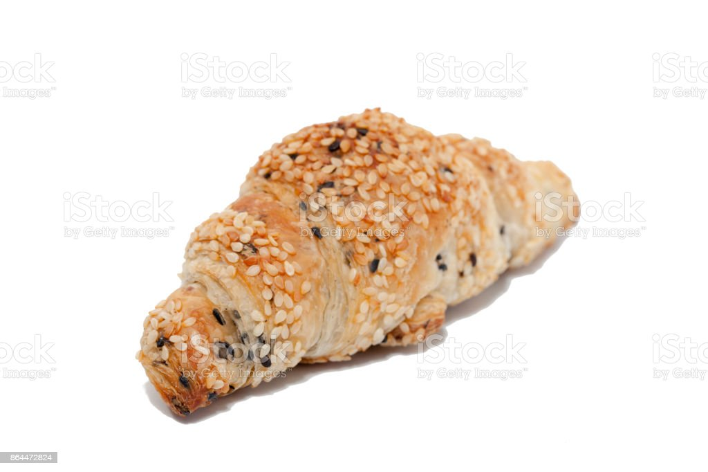 sesame croissant on white background stock photo
