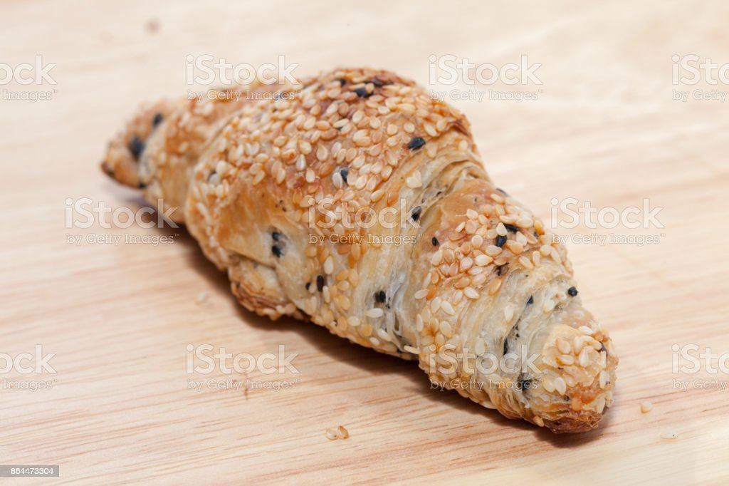 sesame croissant stock photo