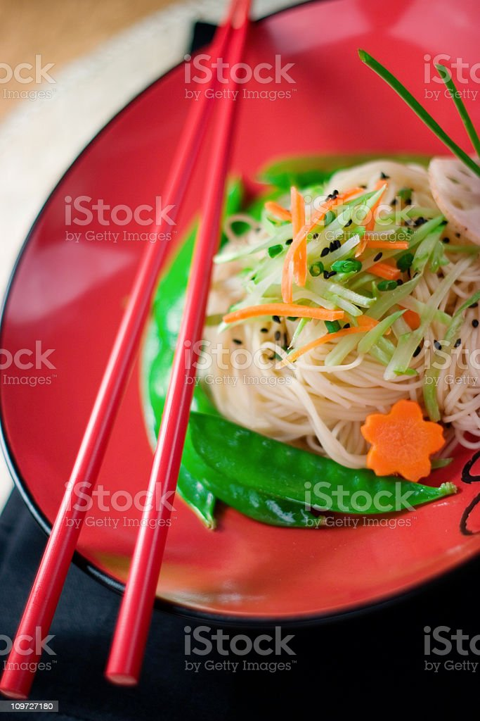Sesame Noodles in Bowl royalty-free stock photo