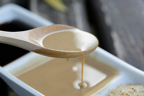 Sesame paste and molasses stock photo