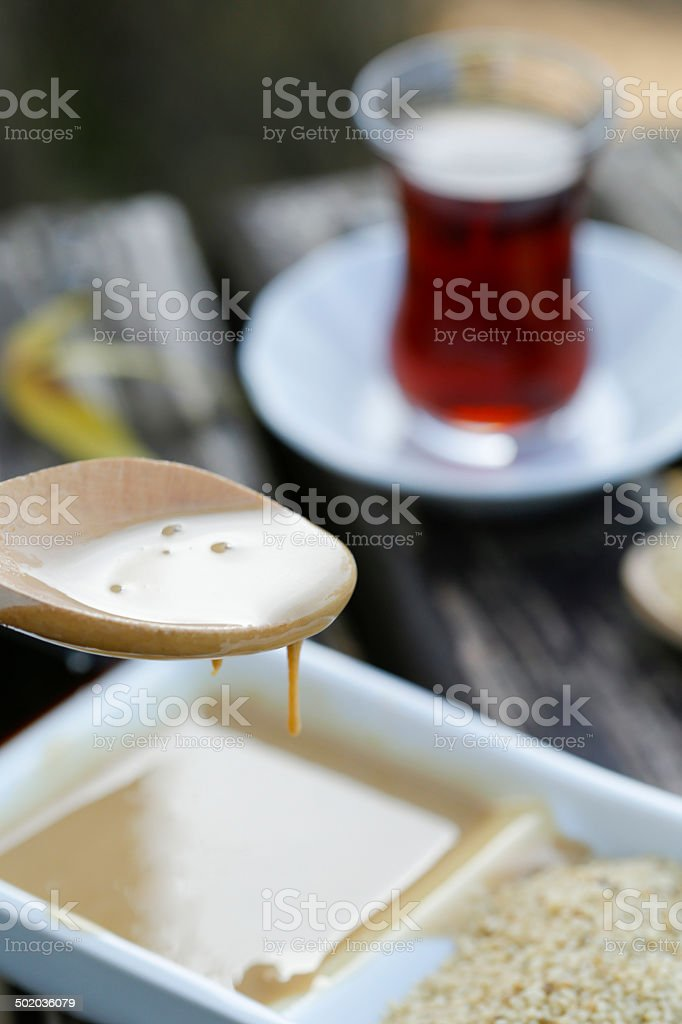 Sesame paste and molasses stock photo