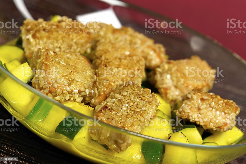 Sesame Salmon with Cream royalty-free stock photo