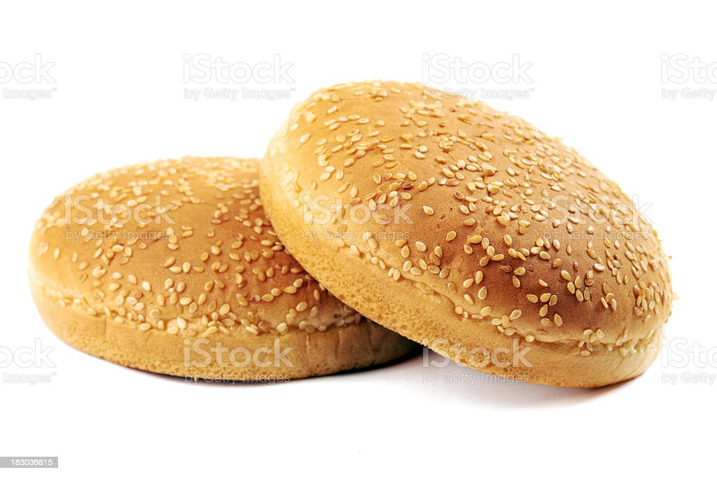 2 sesame seed burger buns with nothing in them royalty-free stock photo