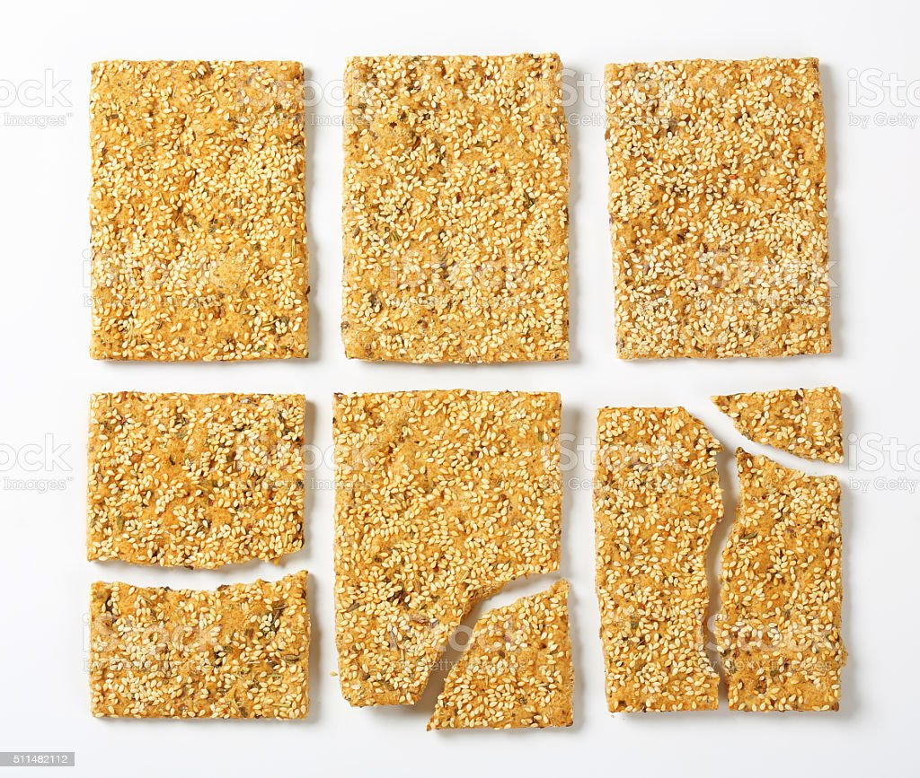 Sesame seed crackers stock photo