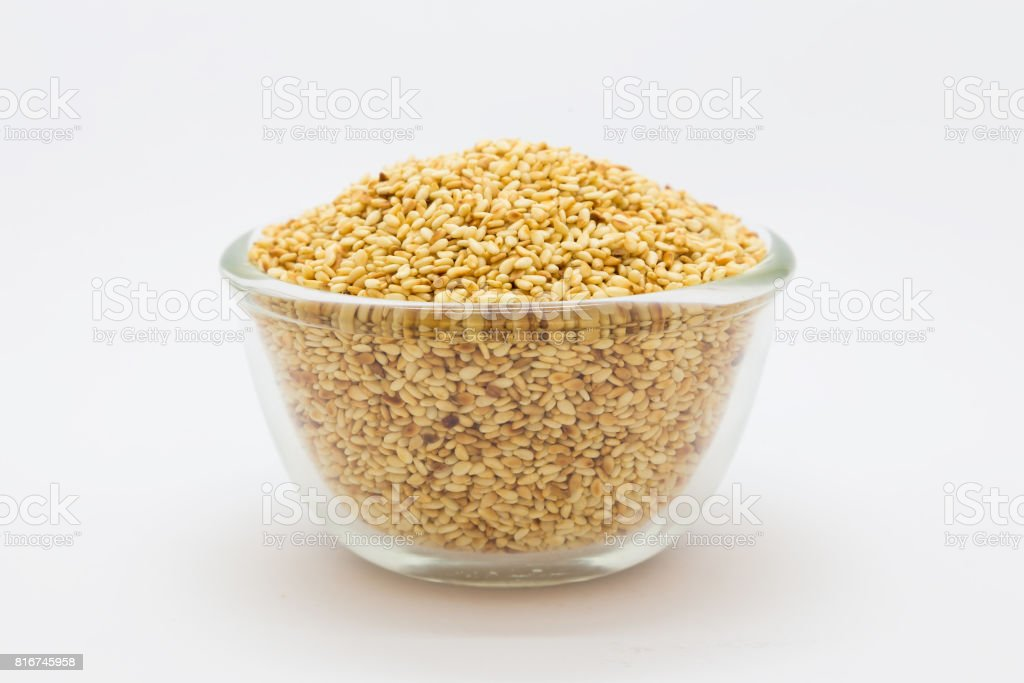 Sesame seed on a glass cup stock photo