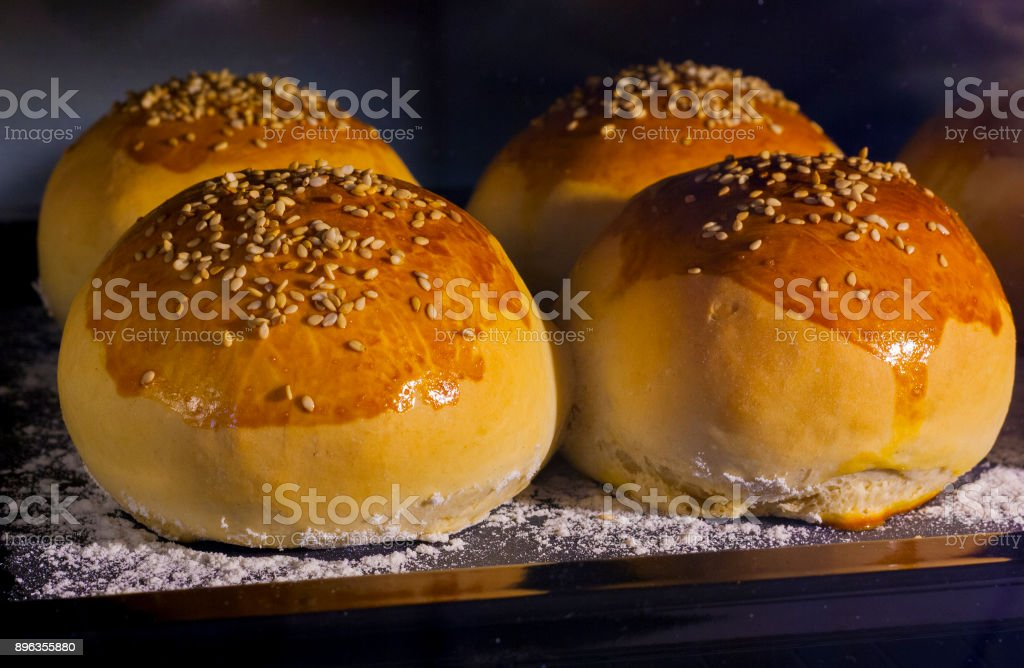 Sesame seeds buns homemade - foto stock