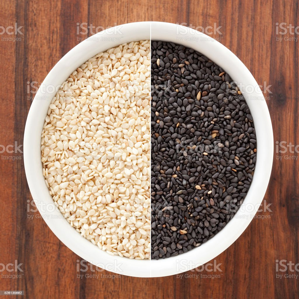 Sesame seeds composition stock photo