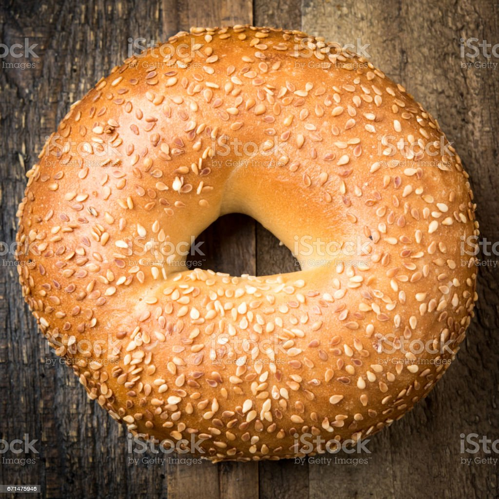 Sesame Seeds Organic Bagel stock photo