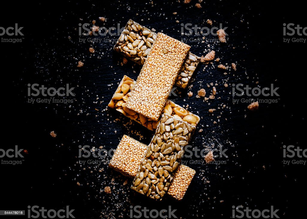Sesame seeds, sunflower and peanuts stock photo