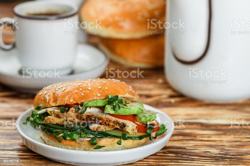 Sesame Seeds Whole Grain Bagels With Chicken Grill Microgreens