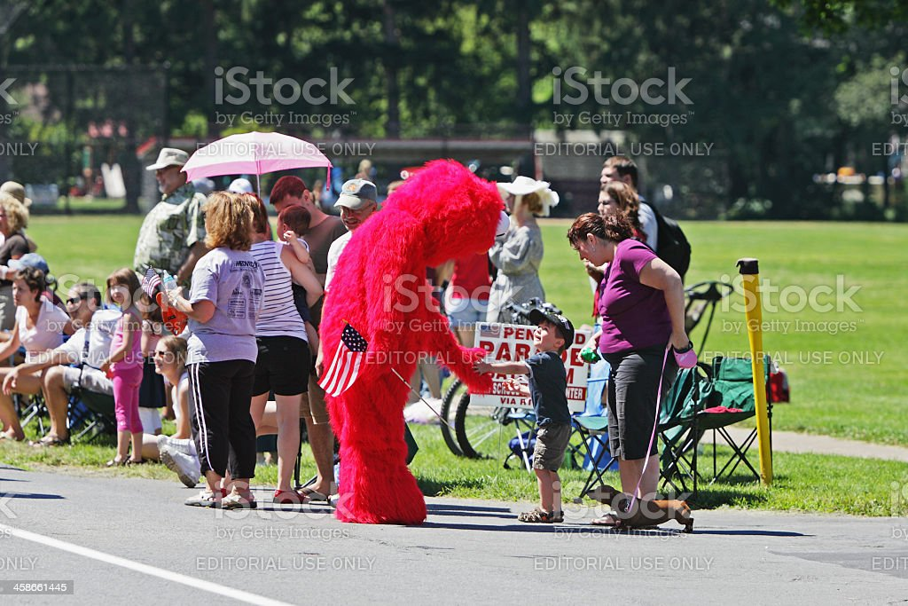 Sesame Street Muppet Character Elmo in Independence Day Parade stock photo