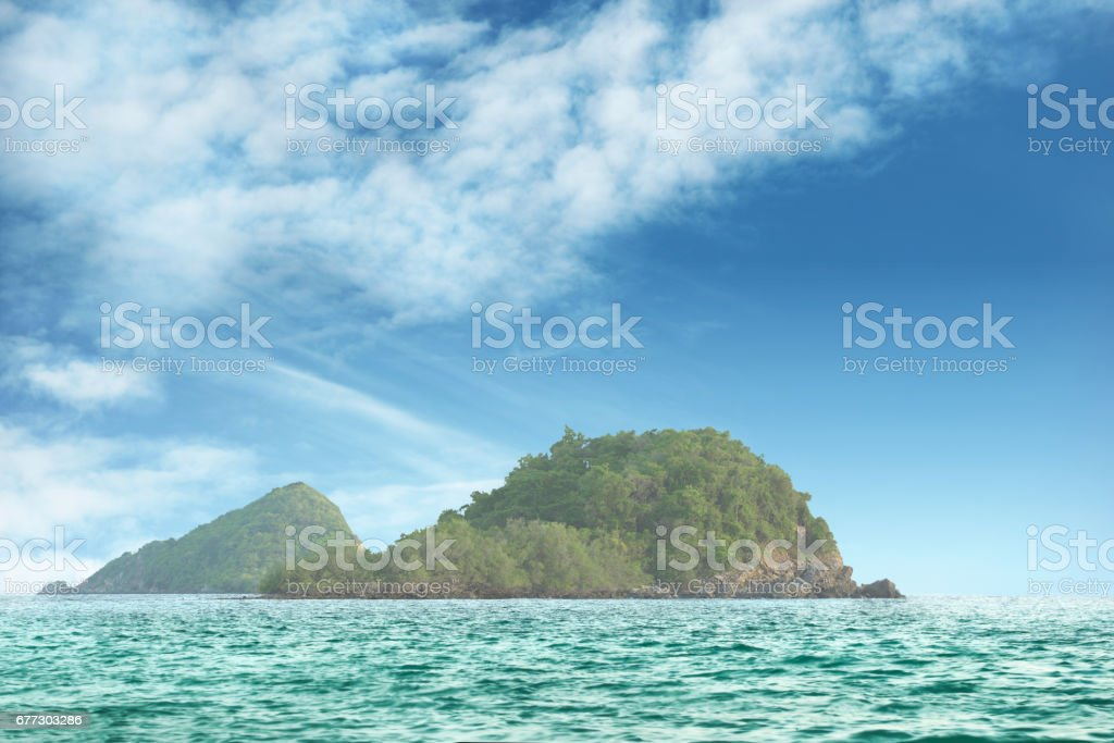 Seserted island in the middle of ocean stock photo
