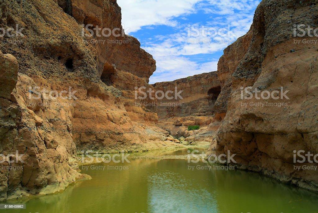 Sesriem canyon of Tsauchab river, Sossusvley Namibia stock photo