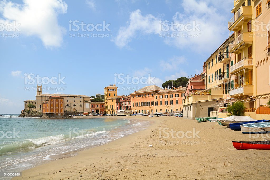 Sestri Levante, Liguria: Seaside with old town and beach, Italy stock photo
