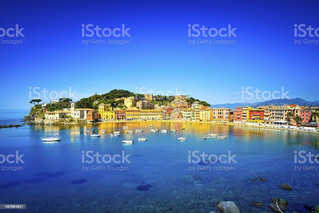 Sestri Levante, silence bay sea harbor and beach view. Liguria, stock photo