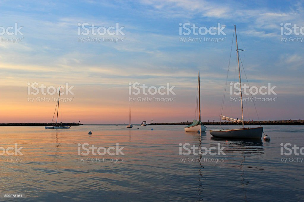 Sesuit Harbor Sunset stock photo