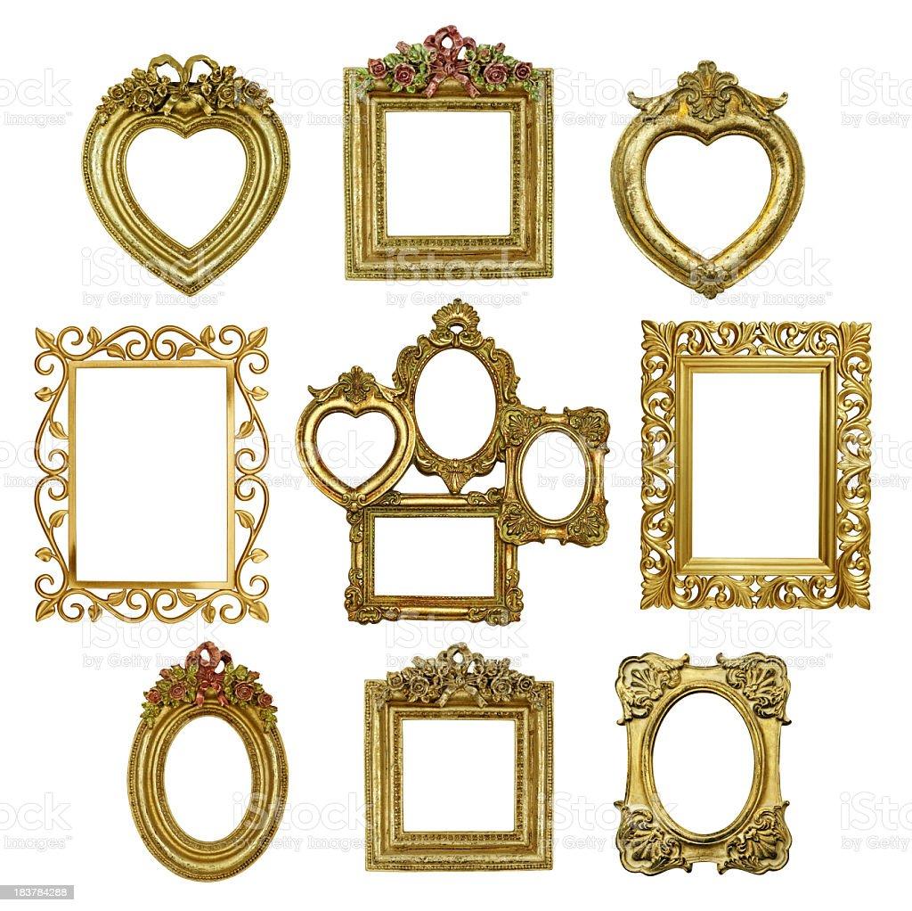 Satz Von Vintage Gold Bilderrahmen 5 Stock-Fotografie und mehr ...